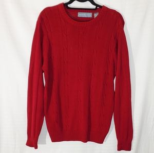 Oscar De La Renta  Red Knit Sweater
